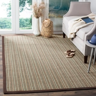 Safavieh Casual Natural Fiber Hand-Woven Stripes Multicolor / Purple Fine Sisal Rug (6' x 9')