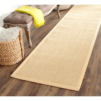 "Safavieh Casual Natural Fiber Hand-Woven Resorts Natural / Maize Yellow Fine Sisal Runner - 2'6"" x 8'"