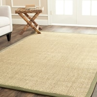 Safavieh Casual Natural Fiber Hand-Woven Resorts Natural / Green Tiger Weave Sisal Rug - 9' x 12'