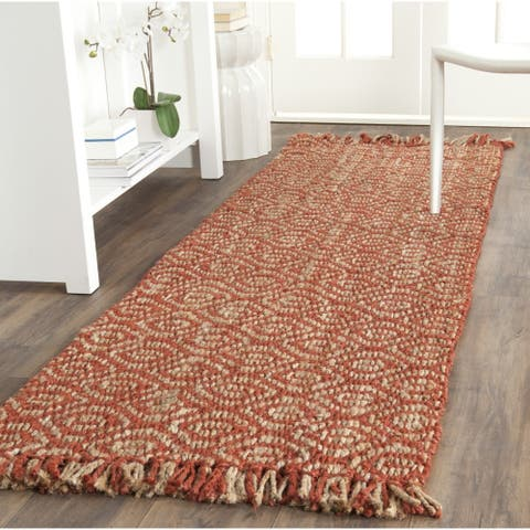 "Safavieh Casual Natural Fiber Hand-Woven Arts Natural / Rust Fine Sisal Runner Rug - 2'6"" x 8'"