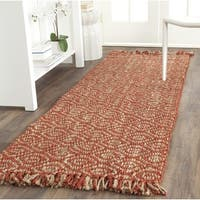 Safavieh Casual Natural Fiber Hand-Woven Arts Natural / Rust Fine Sisal Runner (2'6 x 8')