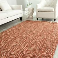 Safavieh Casual Natural Fiber Hand-Woven Arts Natural / Rust Fine Sisal Rug - 4' x 6'