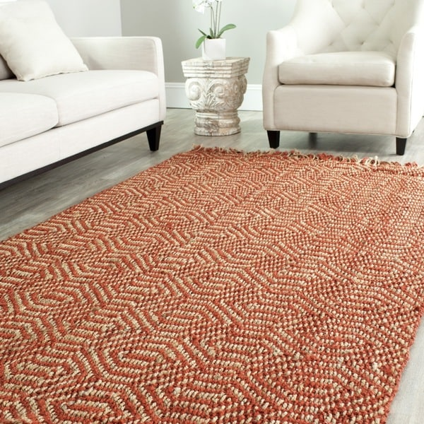 Safavieh Casual Natural Fiber Hand-Woven Arts Natural / Rust Fine Sisal Rug (4' x 6')