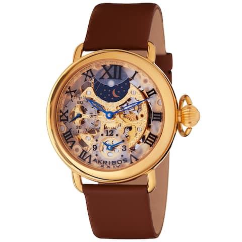 Akribos Men's XXIV Dual Time Mechanical Gold-Tone Strap Watch