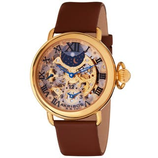 Akribos Men's XXIV Dual Time Mechanical Gold-Tone Strap Watch|https://ak1.ostkcdn.com/images/products/4382825/P12349088.jpg?impolicy=medium