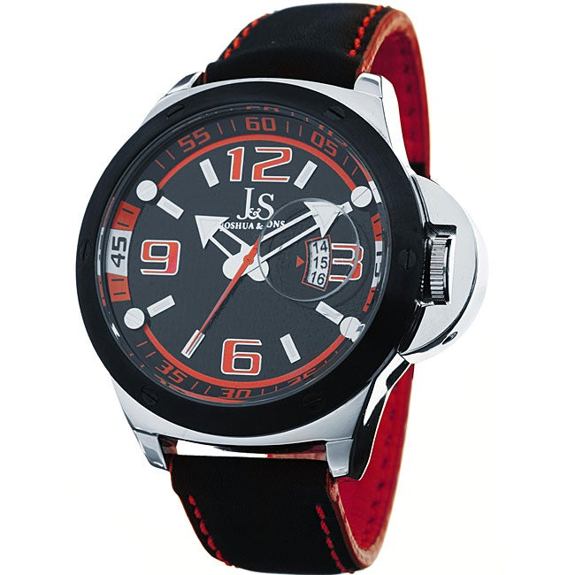 Joshua & Sons Men's 'Daredevil' Quartz Black and Red Racer Watch