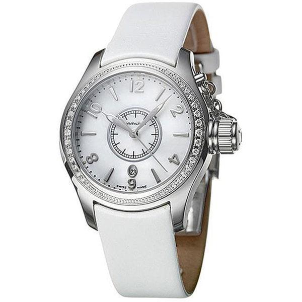 Hamilton Women's Navy Seaqueen Steel Diamond White Strap Watch