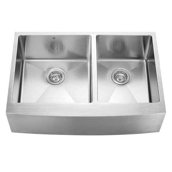 Vigo 33 Inch Farmhouse Stainless Steel 16 Gauge Double Bowl Kitchen Sink With Rounded Edge