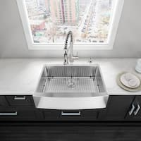 VIGO 33-inch Farmhouse Stainless Steel 16 Gauge Single Bowl Kitchen Sink with Rounded Edge