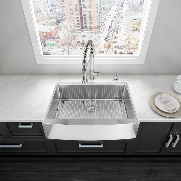 vigo 33 bedford stainless steel farmhouse kitchen sink silver - Kitchen Sinks For Sale