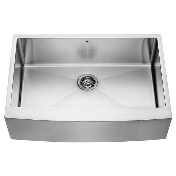 Vigo 33 Inch Farmhouse Stainless Steel 16 Gauge Single Bowl Kitchen Sink With Rounded Edge