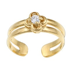 Sterling Essentials 14K Gold over Silver CZ Clover Toe Ring