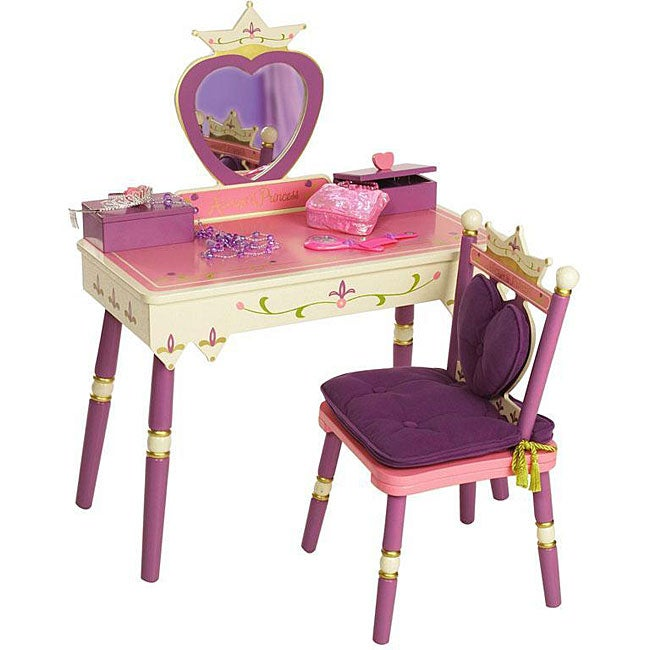Shop Princess Vanity Table And Chair Set Free Shipping
