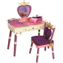Princess Vanity Table and Chair Set  sc 1 st  Overstock.com & Princess Table and Chairs Set - Free Shipping Today - Overstock ...