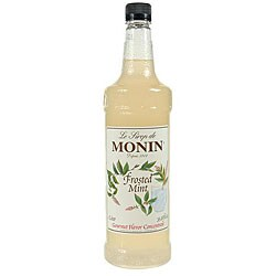 Monin Pet Frosted Mint Syrup 1 Liter (Pack of 4)