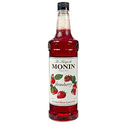 Monin Pet Strawberry Syrup 1 Liter (Pack of 4)