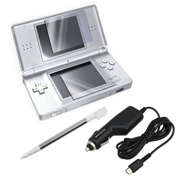 Insten Car Charger/ Pen Stylus and Screen Protector for Nintendo DS Lite