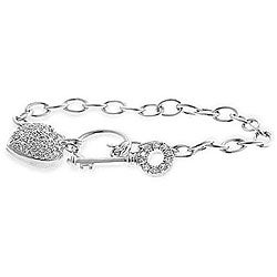 Kate Bissett Cubic Zirconia Heart and Key Bracelet