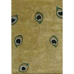 Alliyah Handmade Sage Green New Zealand Blend Wool Rug - 5' x 8'