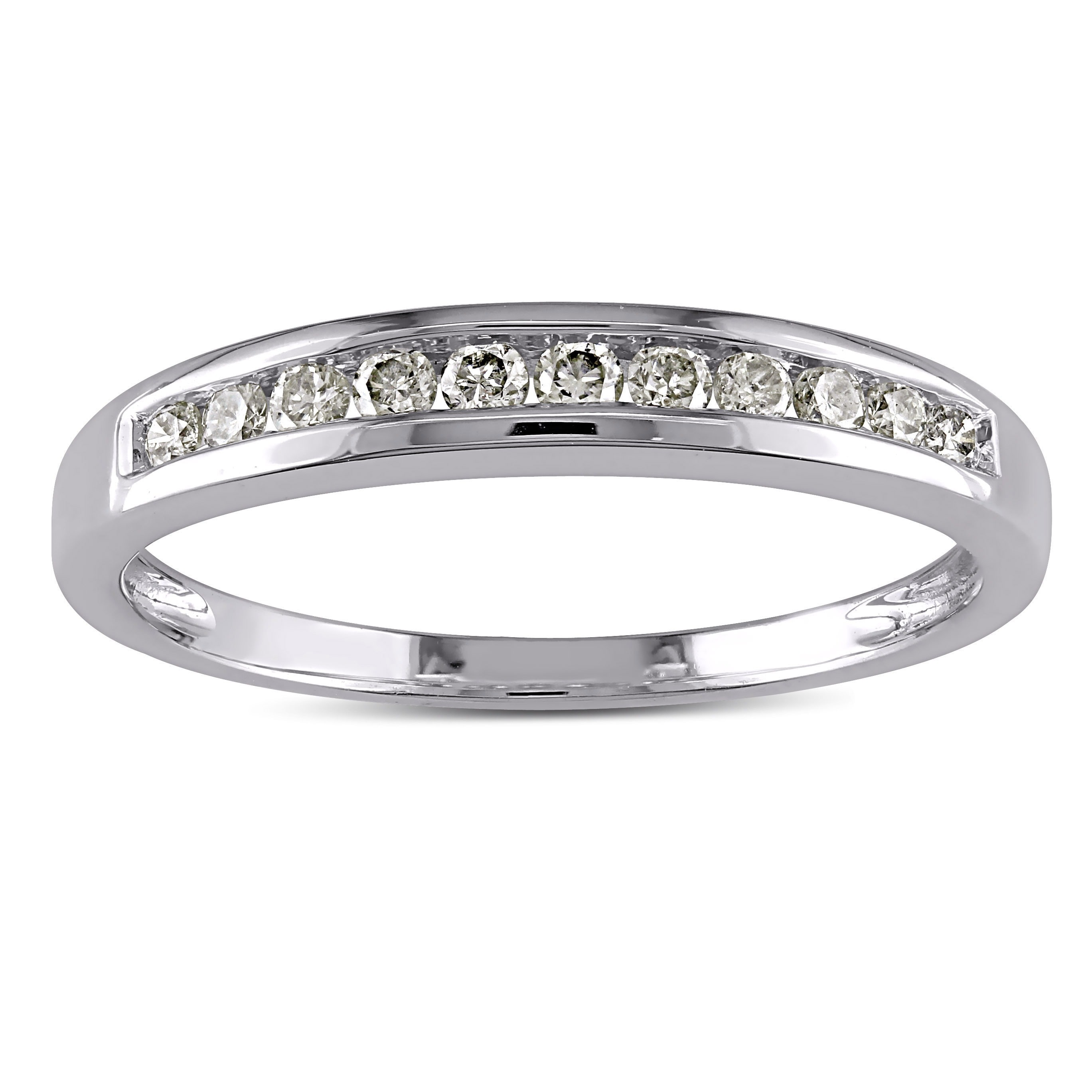 Miadora 10k White Gold 1/4ct TDW Diamond Stackable Channe...