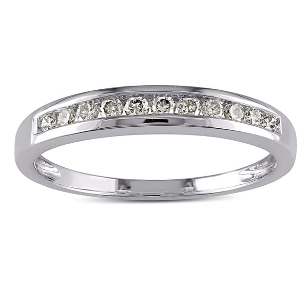 Miadora 10k White Gold 1/4ct TDW Diamond Stackable Channel-set Anniversary-style Wedding Band (J-K, I2-I3)