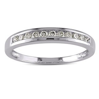 Miadora 10k White Gold 1/4ct TDW Diamond Stackable Channel-set Anniversary-style Wedding Band K,