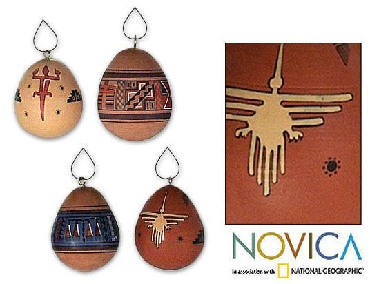 Set of 4 'Southwest' Ceramic Ornaments (Peru)