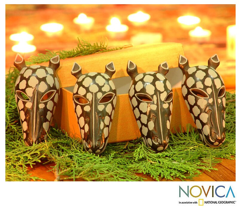Set of Four Wooden 'Black Giraffes' Ornaments (Indonesia)