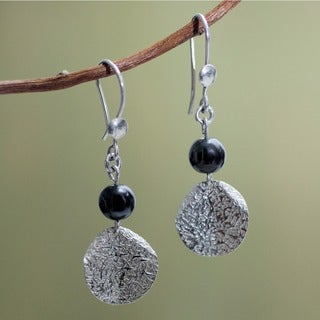 Sterling Silver 'Shimmer' Hematite Earrings (Peru)