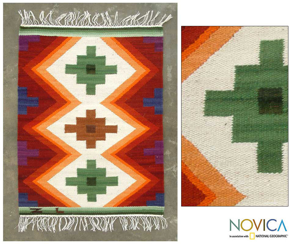 Handmade 'Inca Cross' 2' x 2.5' Wool Rug (Peru)