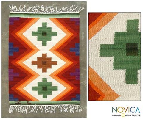 Handmade 'Inca Cross' 2' x 2.5' Wool Rug (Peru) - 2' x 2'6