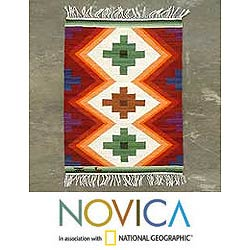 'Inca Cross' 2' x 2.5' Wool Rug (Peru)