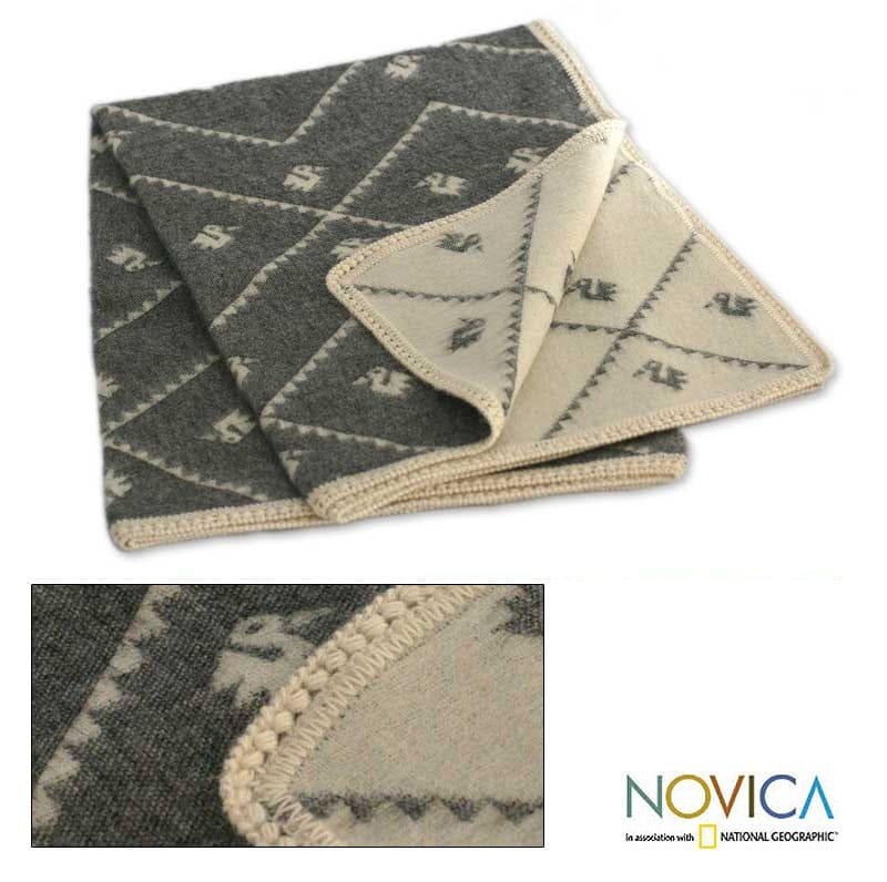 'Inca Duck Mist' Alpaca Wool Throw Blanket (Peru)