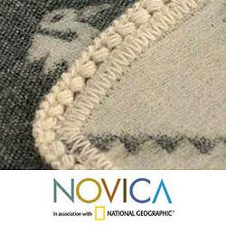 'Inca Duck Mist' Alpaca Wool Throw Blanket (Peru) - Thumbnail 2