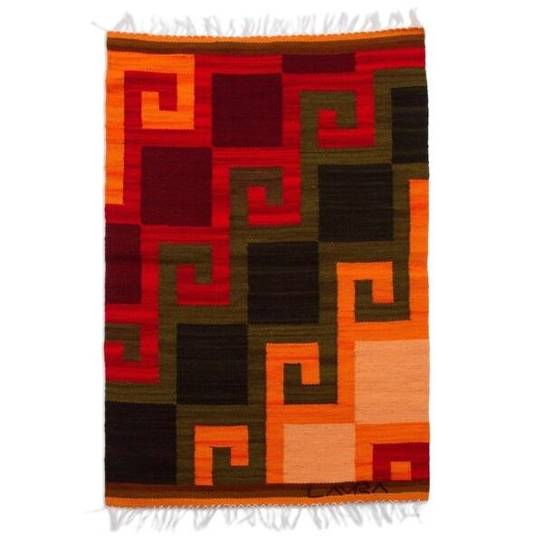 Handmade Peruvian 'Fiery Hills' Wool Rug (Peru) - 2' x 2'6