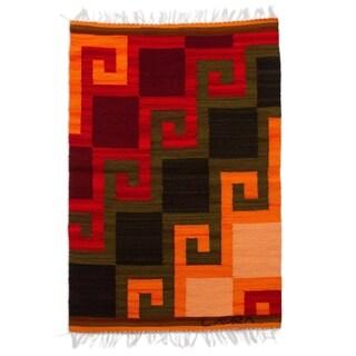 Handmade Peruvian 'Fiery Hills' Wool Rug (2' x 2'6) (Peru) - 2' x 2'6