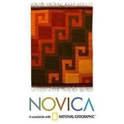 Peruvian 'Fiery Hills' Wool Rug (2' x 2'6)