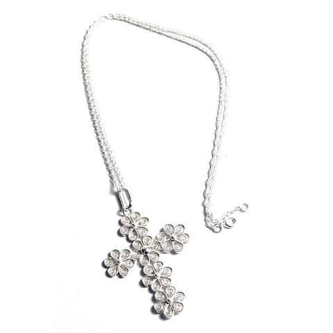 "Handmade Filigree Flowers Cross Necklace (Peru) - 7'6"" x 9'6"""