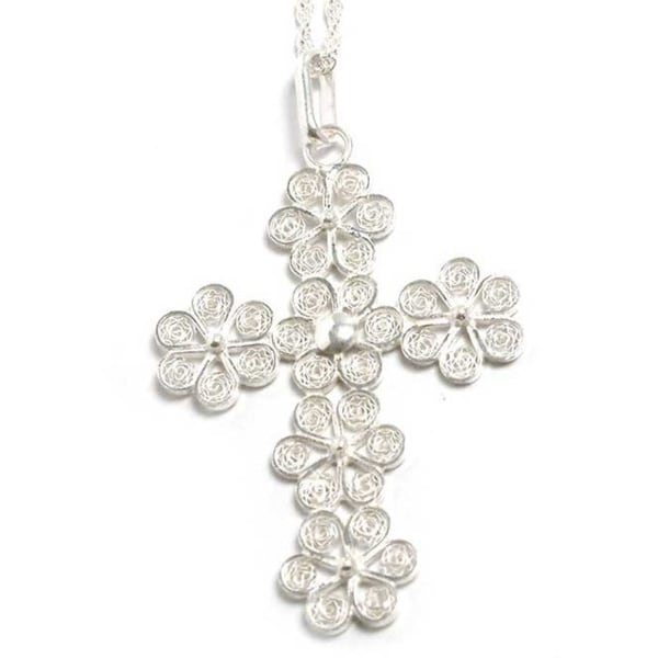 Handmade Filigree Flowers in 925 Sterling Silver with Rope Chain Womens Pendant Cross Necklace (Peru