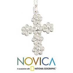 Handmade Filigree Flowers in 925 Sterling Silver with Rope Chain Womens Pendant Cross Necklace (Peru) - Thumbnail 2