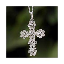 Filigree Flowers in 925 Sterling Silver with Rope Chain Womens Pendant Cross Necklace (Peru)