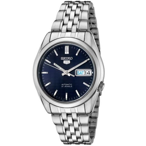 Seiko Men's 5 Automatic Dark Blue Dial Stainless Steel Watch