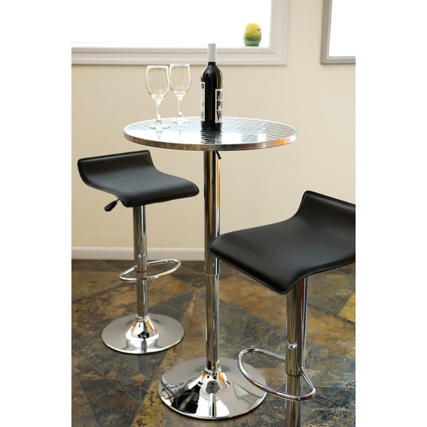 Bistro Polished Chrome Bar Table   Free Shipping Today   Overstock.com    12354142