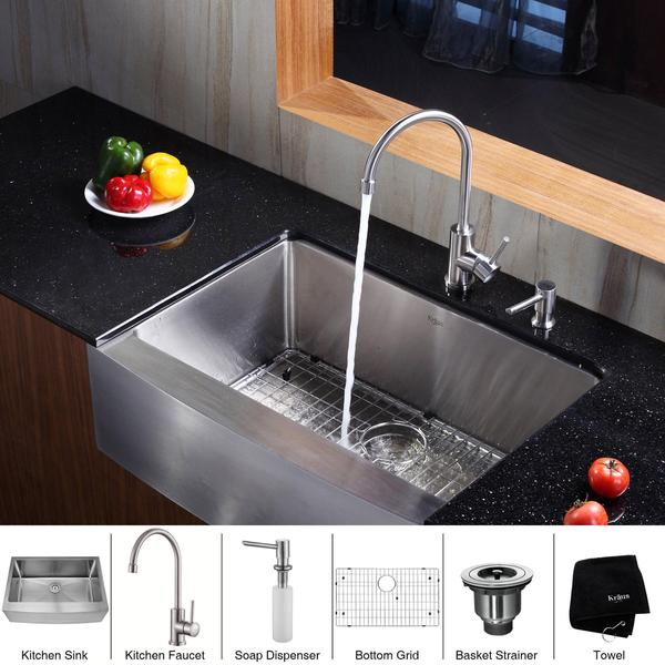 KRAUS 30 Inch Farmhouse Single Bowl Stainless Steel Kitchen Sink with Kitchen Bar Faucet and Soap Dispenser in Stainless Steel
