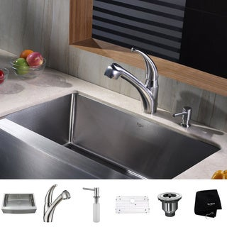 KRAUS 33 Inch Farmhouse Single Bowl Stainless Steel Kitchen Sink with Pull Out Kitchen Faucet and Soap Dispenser