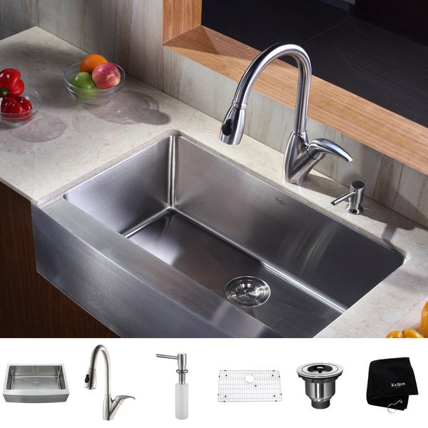 24 Inch Stainless Steel Farmhouse Sink : ... Kitchen Combo Set Stainless Steel 33 -inch Farmhouse Sink with Faucet