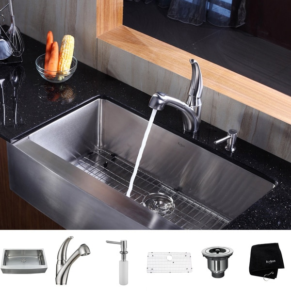 KRAUS 36 Inch Farmhouse Single Bowl Stainless Steel Kitchen Sink with Pull Out Kitchen Faucet and Soap Dispenser