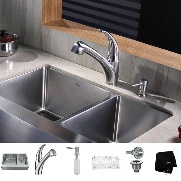 KRAUS 33 Inch Farmhouse Double Bowl Stainless Steel Kitchen Sink with Pull Out Kitchen Faucet and Soap Dispenser