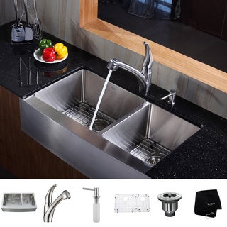 KRAUS 36 Inch Farmhouse Double Bowl Stainless Steel Kitchen Sink with Pull Out Kitchen Faucet and Soap Dispenser
