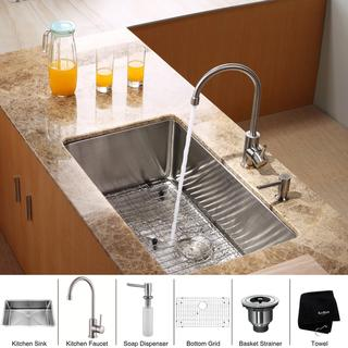 KRAUS 30 Inch Undermount Single Bowl Stainless Steel Kitchen Sink with Kitchen Bar Faucet and Soap Dispenser